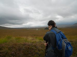 Wendy MacIntyre looking over the moors in Scotland